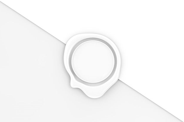 Sigillo di cera bianca con spazio vuoto per il tuo design su uno sfondo di carta bianca. rendering 3d