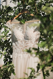 Abito da sposa bianco sul gancio appeso all'albero nel bosco