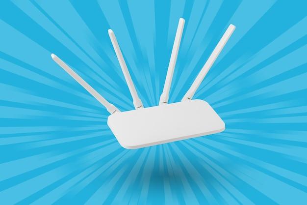 Router wi-fi bianco su una superficie astratta blu