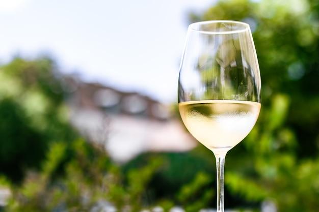 Vino bianco in un ristorante di lusso sulla terrazza con giardino estivo esperienza di degustazione di vini in cantina nel vi...
