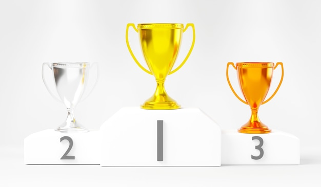 Podio bianco vincitore oro argento e bronzo trofeo coppa sul premio podio 3d rendering illustrazione