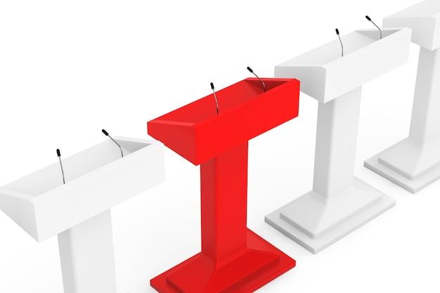 Bianco con red one podium tribune rostrum stand con microfoni su sfondo bianco