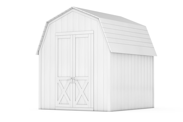 Capannone in legno bianco per piccoli attrezzi da giardino in stile argilla su sfondo bianco. rendering 3d