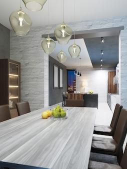 Piano del tavolo in legno bianco con frutta nella sala da pranzo. rendering 3d