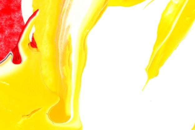 Fondo bianco e giallo di struttura della pittura acrilica