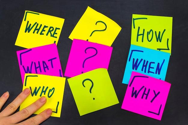 Chi, perché, come, cosa, quando e dove domande - incertezza, brainstorming o concetto di processo decisionale, un set di foglietti adesivi colorati sullo sfondo della lavagna.