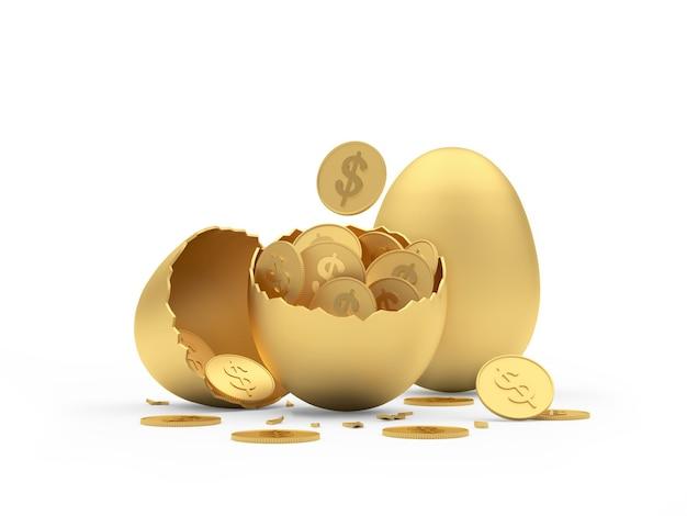 Uovo d'oro intero e rotto con monete