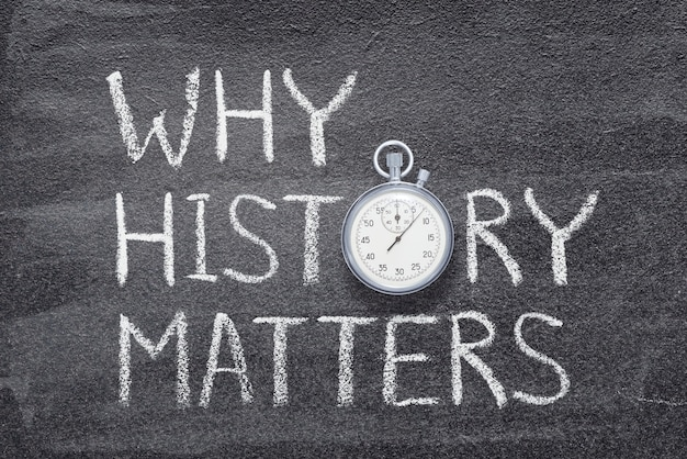 Perché la storia conta una frase scritta sulla lavagna con un cronometro preciso vintage