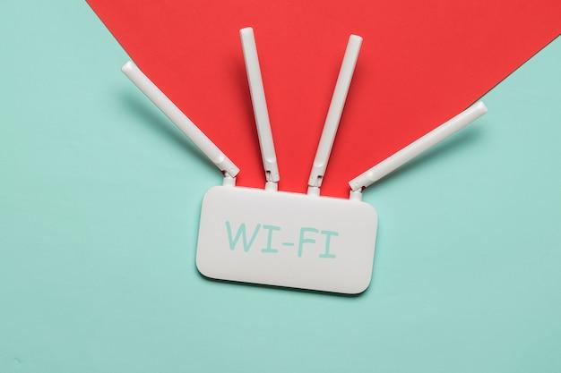 Router wi-fi sulla superficie raffigurante la propagazione del segnale
