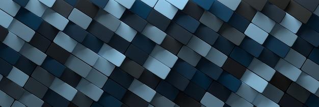 Ampio banner astratto con mattoni di scale colorate di colore blu casuale lungo. illustrazione 3d.