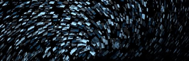Ampio banner con composizione futuristica con particelle casuali caotiche volanti di colore blu nero. illustrazione 3d.