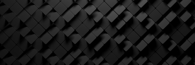 Ampio banner con molti esagoni quadrati casuali in colore nero carbone scuro.