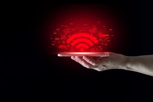 Tecnologia internet wireless wi-fi per la comodità di tutti i giorni concetto di internet wireless futuro 5 g