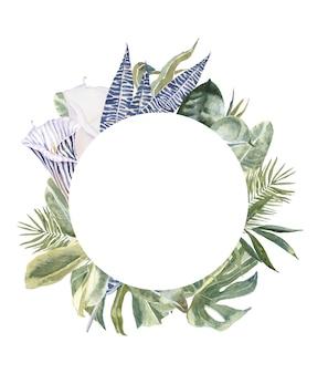 Stampa floreale della pelle degli animali selvaggi, corona floreale delle foglie tropicali