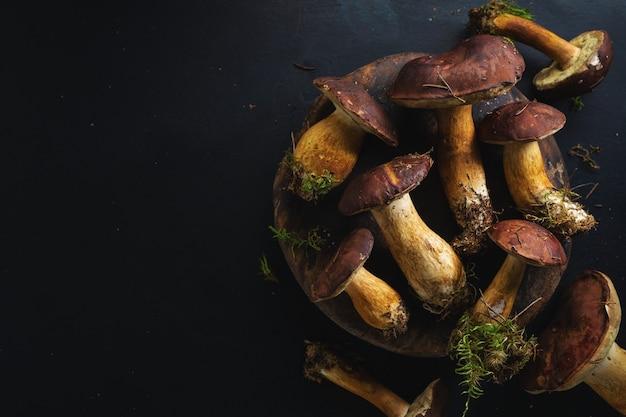 Funghi selvatici dalla foresta pronti per la cottura su sfondo scuro. vista dall'alto.