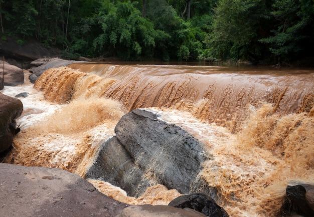 Acqua selvaggia che scorre. disastro naturale. inondazione.