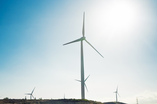 Mulini a vento durante la luminosa giornata estiva. concetto di risparmio energetico