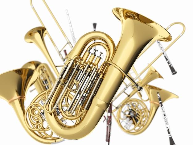 Strumenti musicali a fiato su bianco
