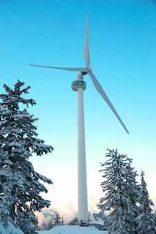 Turbina eolica in montagna ricoperta di foresta invernale