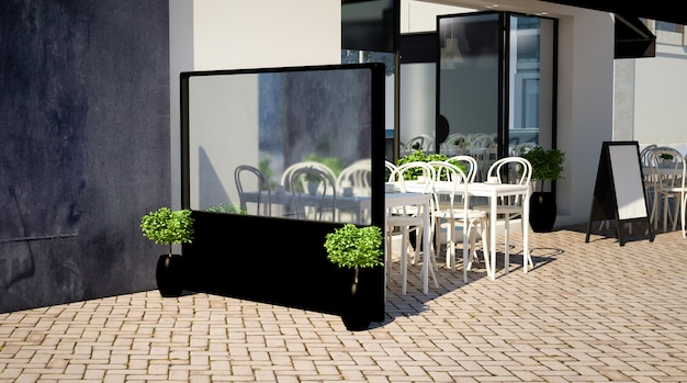 Modello di giacca a vento su una terrazza