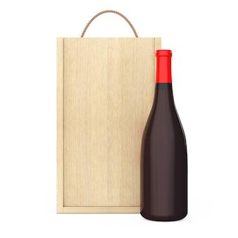 Bottiglia di vino in confezione di vino in legno vuoto con manico su sfondo bianco. rendering 3d.