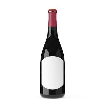 Bottiglia di vino con etichetta vuota bianca mockup per il tuo design su sfondo bianco. rendering 3d
