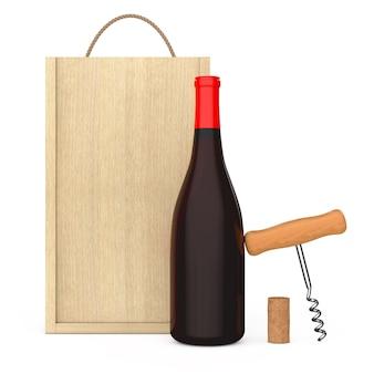 Bottiglia di vino, cavatappi da vino in legno e sughero vicino a una confezione di vino in legno vuota con manico su sfondo bianco. rendering 3d