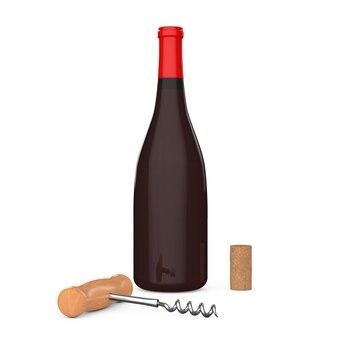 Bottiglia di vino, cavatappi da vino in legno e sughero su sfondo bianco. rendering 3d