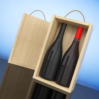 Bottiglie di vino in confezione di vino in legno vuoto con manico su sfondo bianco. rendering 3d.