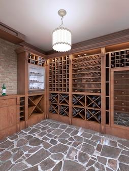 Cantina nel seminterrato della casa in stile rustico. portabottiglie aperte con bottiglie. rendering 3d.