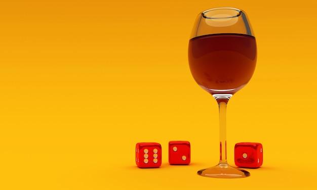 Bicchiere di vino con dadi su sfondo giallo