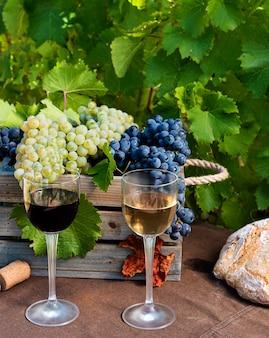 Bicchieri di vino con uva e tappi su sfondo di vigneto