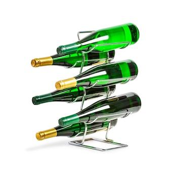 Portabottiglie con bottiglie verdi isolate su sfondo bianco percorso di ritaglio incluso