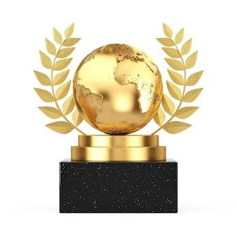 Vincitore del premio cube gold laurel wreath podio, palco o piedistallo con golden earth globe su sfondo bianco. rendering 3d