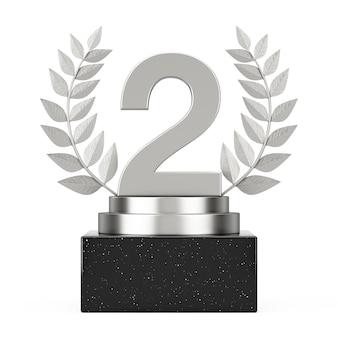 Vincitore del premio cube silver laurel wreath podio, palco o piedistallo con argento numero due o secondo posto su sfondo bianco. rendering 3d