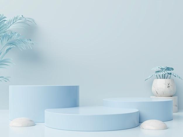 Composizione astratta del podio del vincitore con sfondo blu