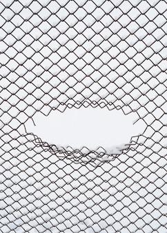 Sfondo invernale con cornice ovale. astrazione in un ambiente urbano. il buco nella rete del recinto di filo metallico