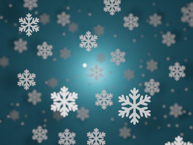 Sfondo blu invernale con fiocchi di neve, rendering 3d
