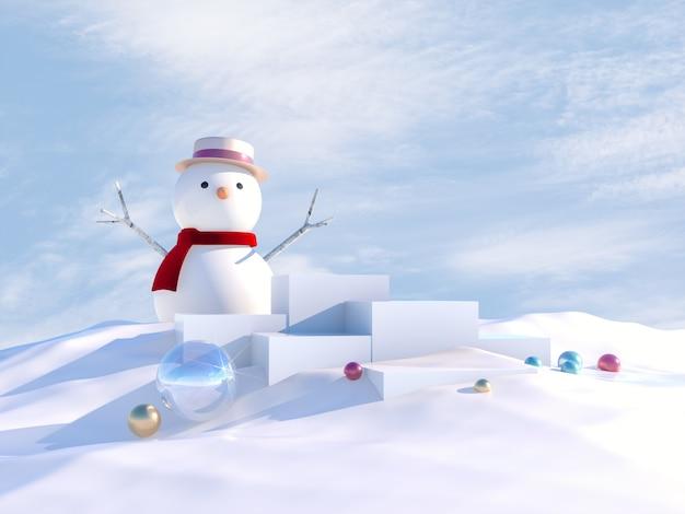 Scena di natale invernale con podio e pupazzo di neve.