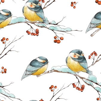 Reticolo senza giunte dell'annata di natale di inverno con rami rustici, bacche rosse, cincia di uccelli.
