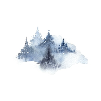 Acquerello di foresta nuvoloso inverno isolato su bianco