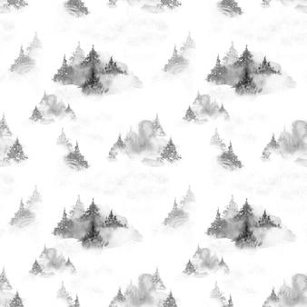 Reticolo senza giunte dell'acquerello della foresta nuvolosa di inverno