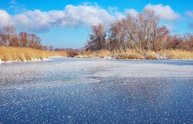 Paesaggio invernale con alberi, fiume ghiacciato e cielo blu