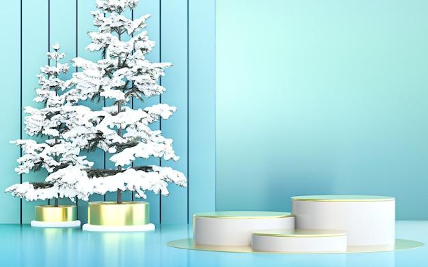 Display podio di lusso con sfondo di buon natale invernale per la promozione del prodotto rendering 3d