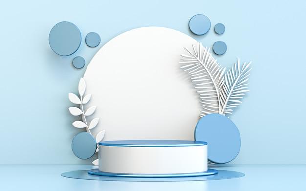 Esposizione di lusso del podio del cerchio blu di buon natale di inverno per il rendering 3d di presentazione del prodotto