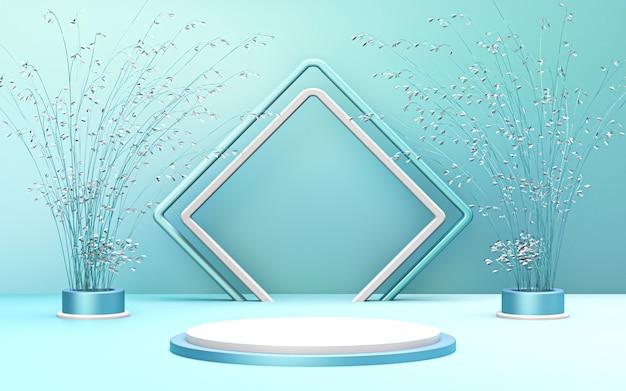 Display podio blu e bianco di lusso di buon natale invernale per la presentazione del prodotto 3d rendering