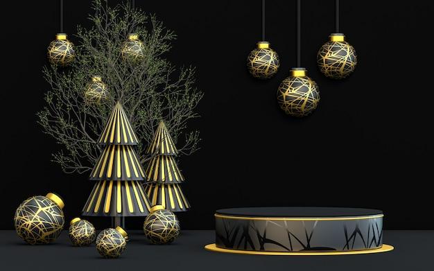 Buon natale invernale di lusso espositore da podio scuro e oro per la presentazione del prodotto 3d rendering