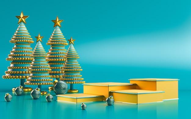 Display podio di lusso invernale buon natale per la presentazione del prodotto rendering 3d