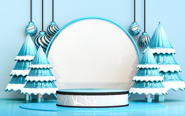 Albero di natale allegro invernale con display podio di lusso blu per la presentazione del prodotto 3d rendering