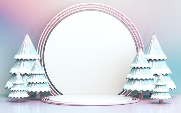 Albero di natale allegro invernale con display podio di lusso per la presentazione del prodotto rendering 3d